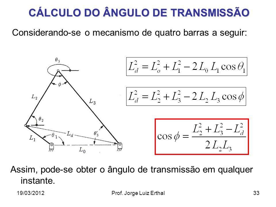 CÁLCULO DO ÂNGULO DE TRANSMISSÃO