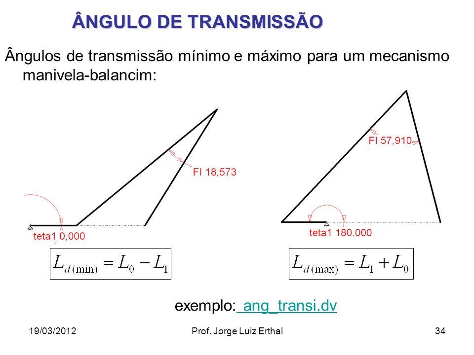 ÂNGULO DE TRANSMISSÃO Ângulos de transmissão mínimo e máximo para um mecanismo manivela-balancim: exemplo: ang_transi.dv.