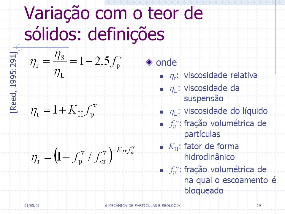 Variação com o teor de sólidos: definições