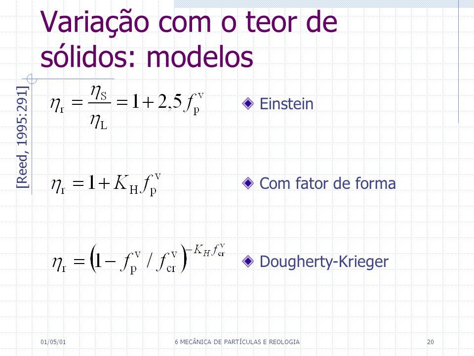 Variação com o teor de sólidos: modelos