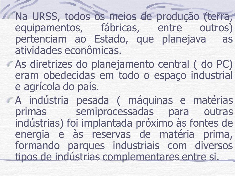 Na URSS, todos os meios de produção (terra, equipamentos, fábricas, entre outros) pertenciam ao Estado, que planejava as atividades econômicas.