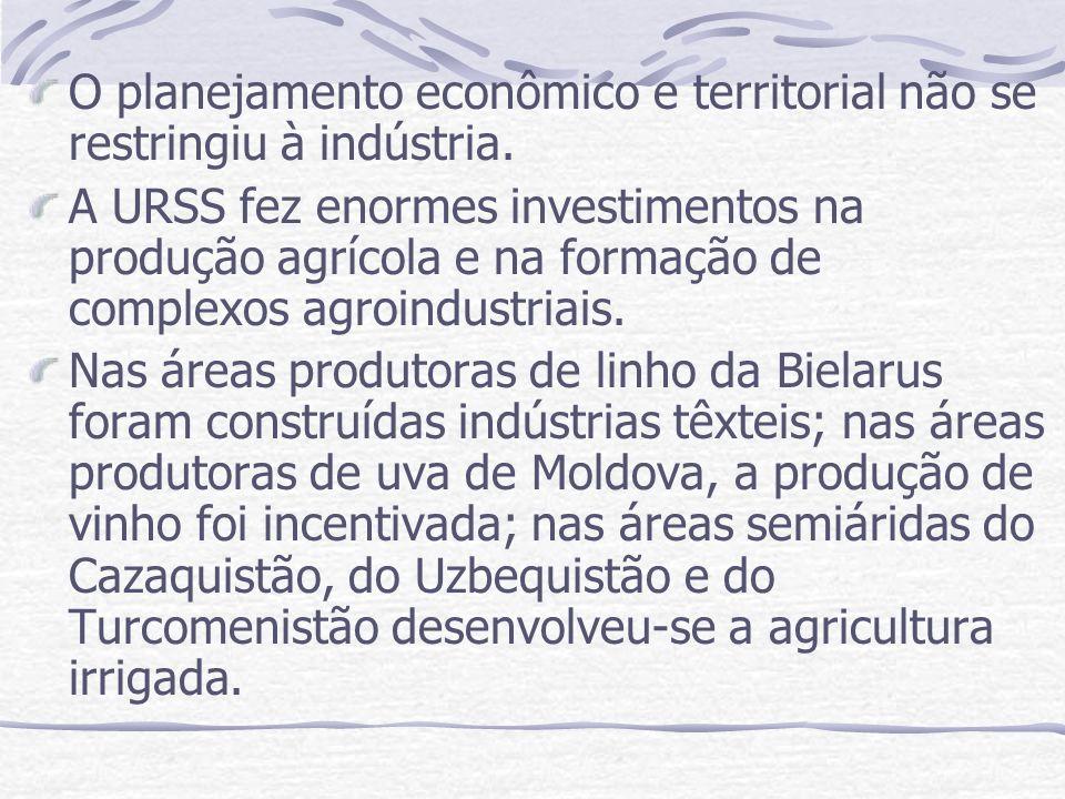 O planejamento econômico e territorial não se restringiu à indústria.