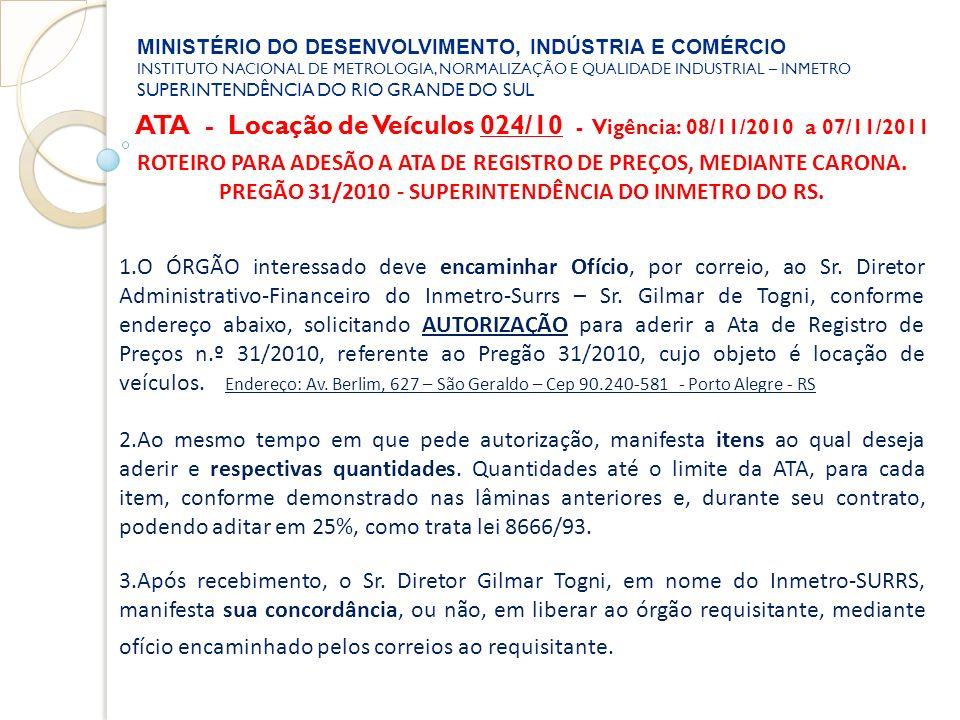 ATA - Locação de Veículos 024/10 - Vigência: 08/11/2010 a 07/11/2011