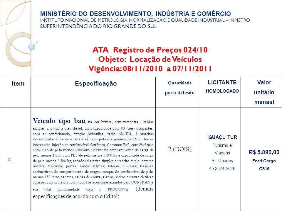 ATA Registro de Preços 024/10 Objeto: Locação de Veículos