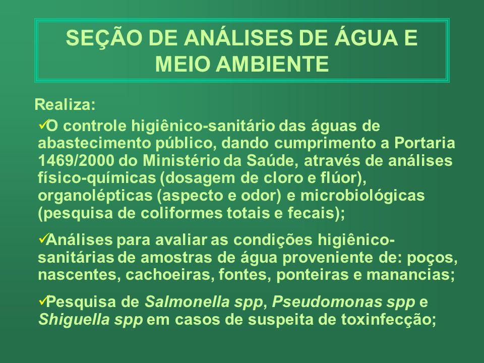 SEÇÃO DE ANÁLISES DE ÁGUA E MEIO AMBIENTE