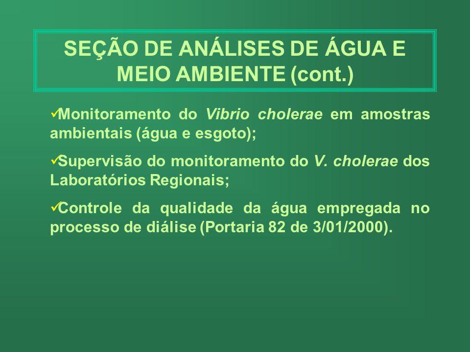 SEÇÃO DE ANÁLISES DE ÁGUA E MEIO AMBIENTE (cont.)