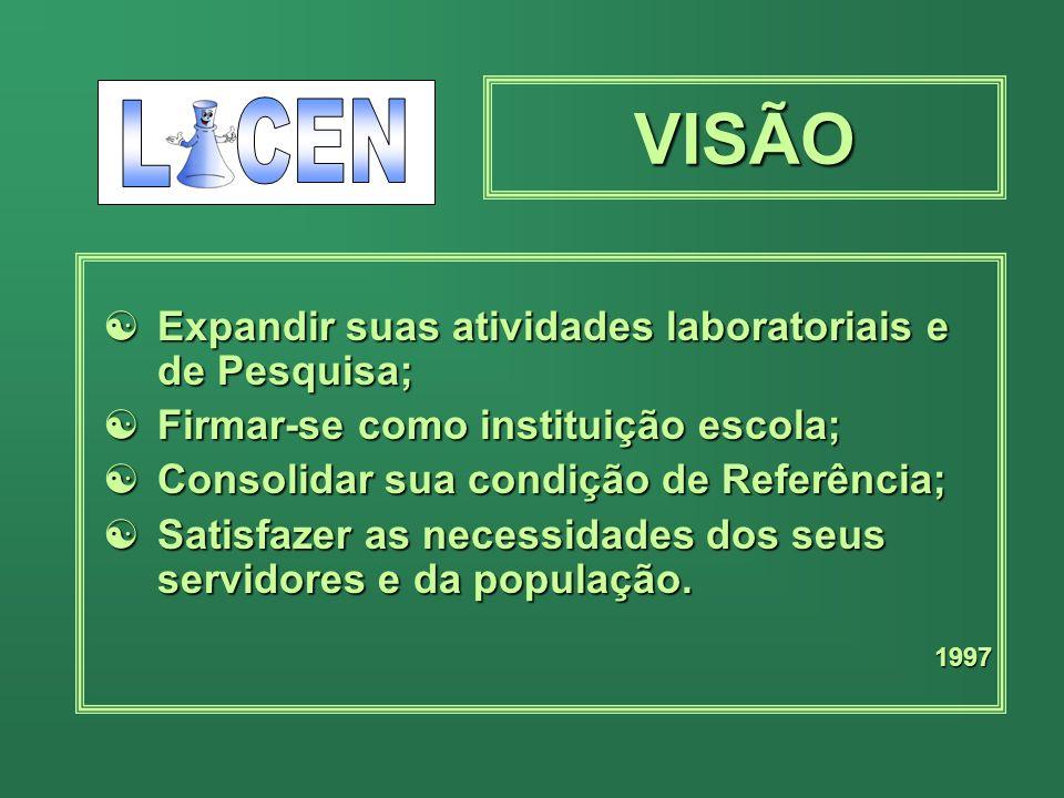 VISÃO L CEN Expandir suas atividades laboratoriais e de Pesquisa;