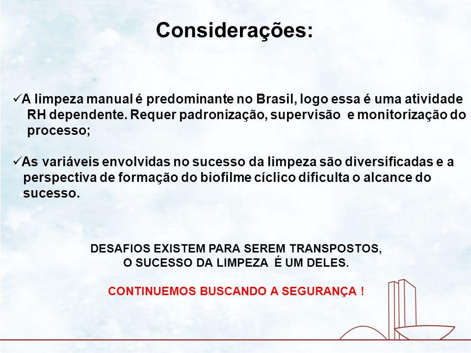 Considerações: A limpeza manual é predominante no Brasil, logo essa é uma atividade.