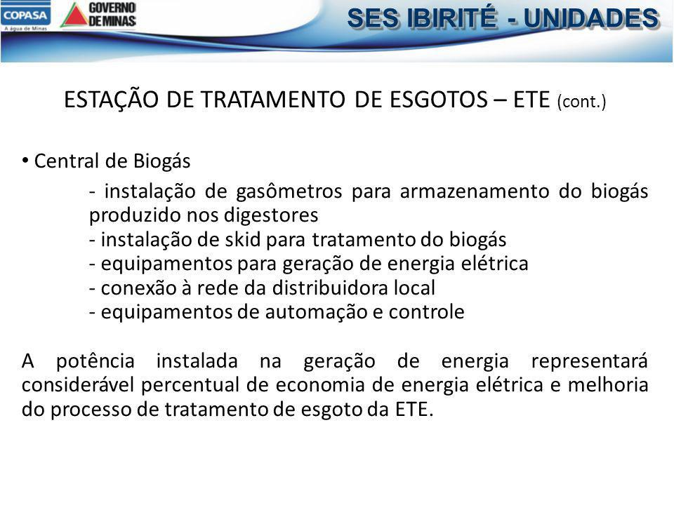 ESTAÇÃO DE TRATAMENTO DE ESGOTOS – ETE (cont.)