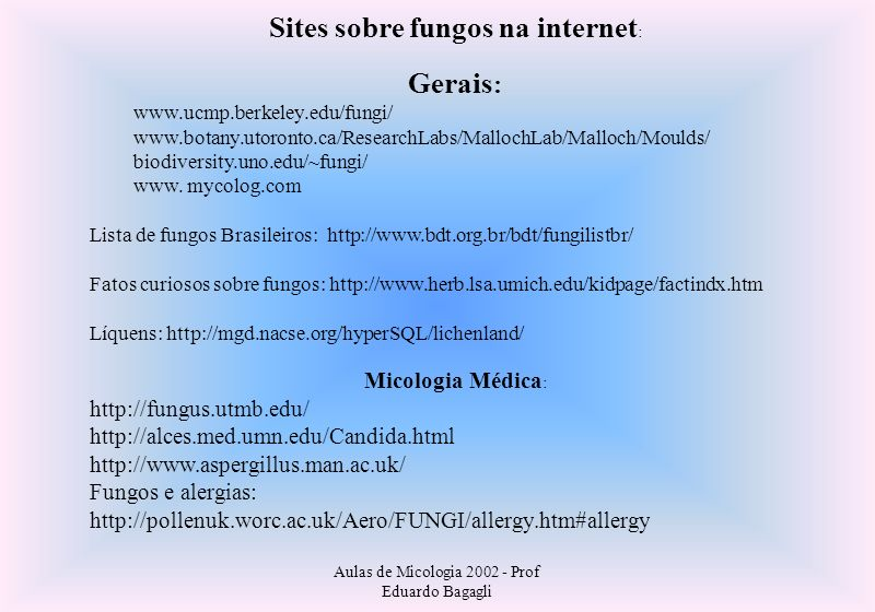 Sites sobre fungos na internet: Gerais: