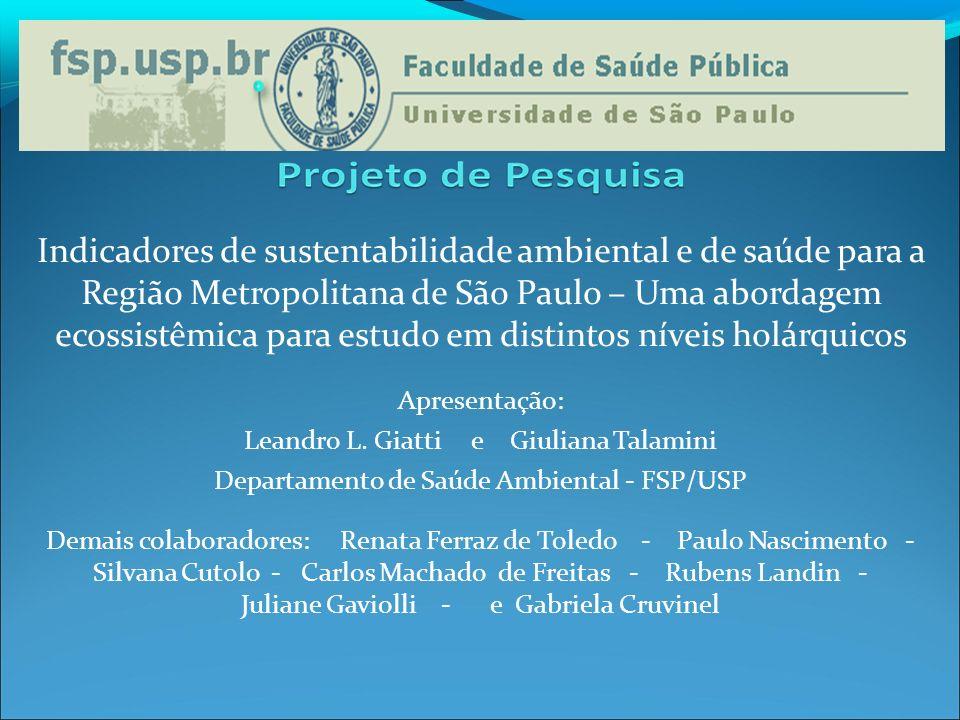 Indicadores de sustentabilidade ambiental e de saúde para a Região Metropolitana de São Paulo – Uma abordagem ecossistêmica para estudo em distintos níveis holárquicos
