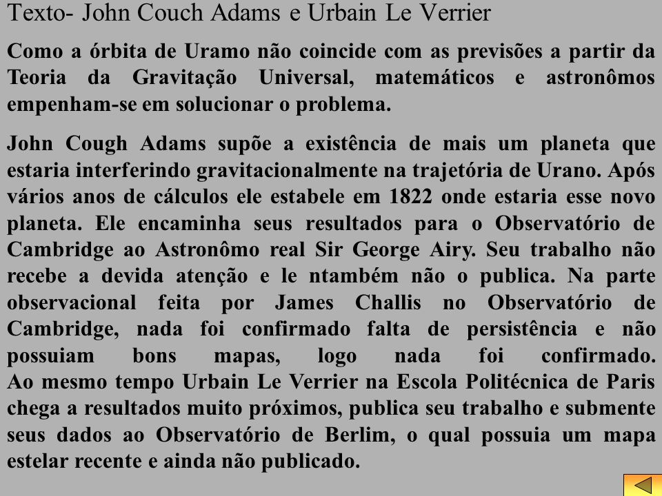 Texto- John Couch Adams e Urbain Le Verrier