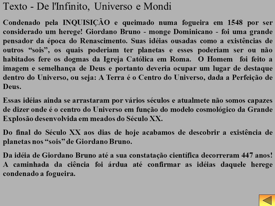 Texto - De l Infinito, Universo e Mondi