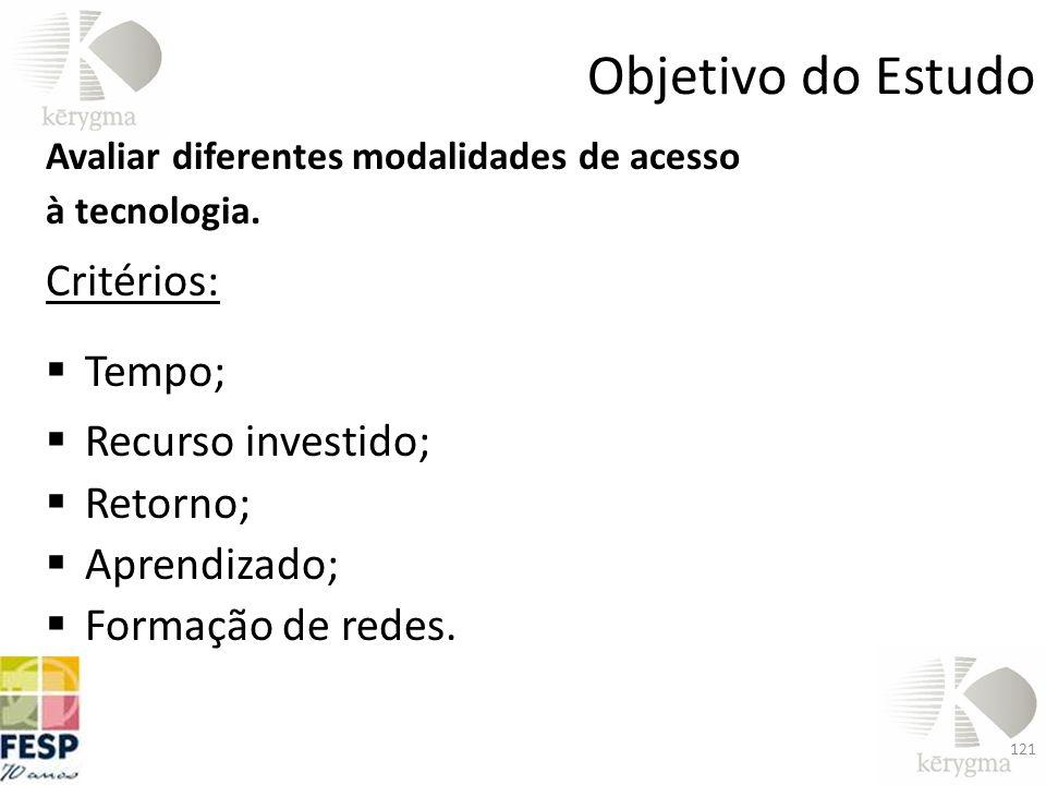 Objetivo do Estudo Critérios: Tempo; Recurso investido; Retorno;