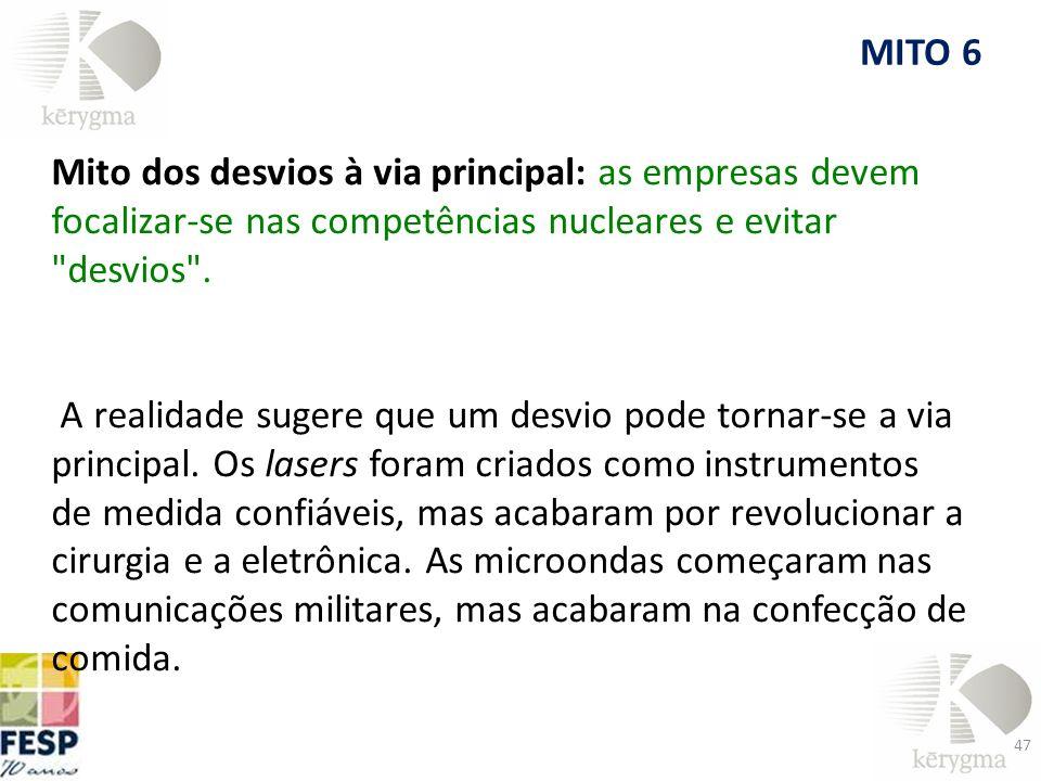 MITO 6 Mito dos desvios à via principal: as empresas devem focalizar-se nas competências nucleares e evitar desvios .
