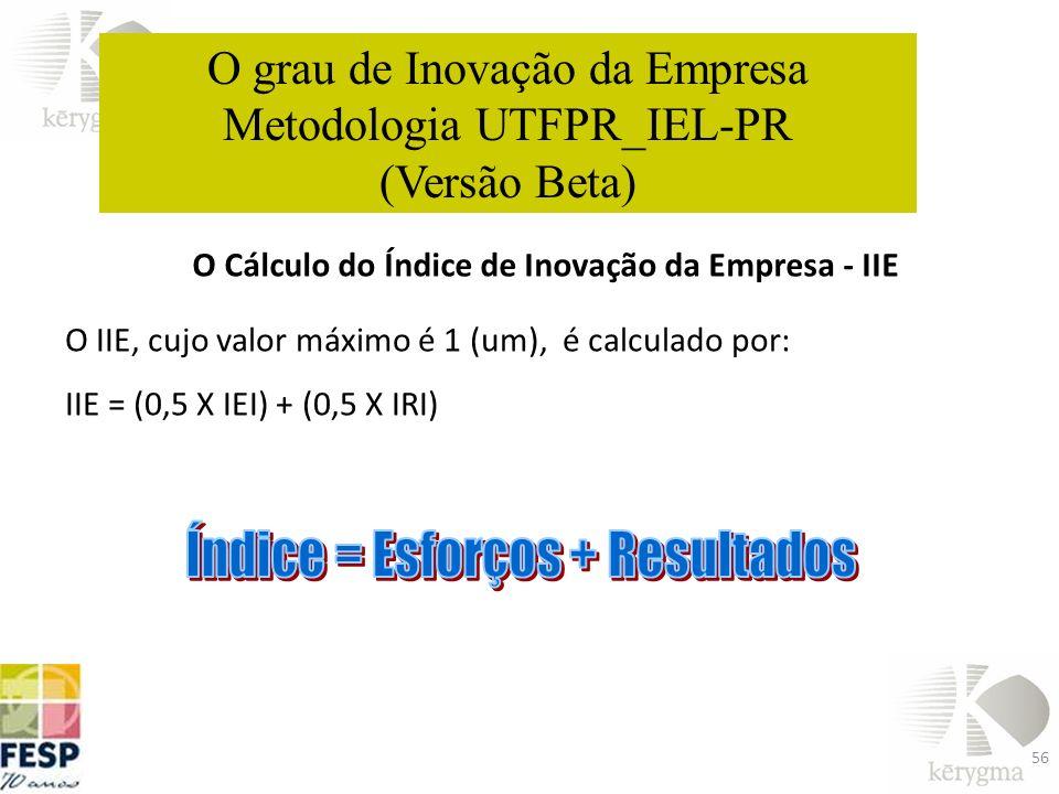 O Cálculo do Índice de Inovação da Empresa - IIE