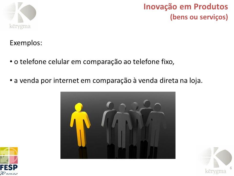 Inovação em Produtos (bens ou serviços) Exemplos: