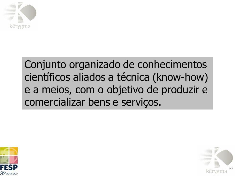 Conjunto organizado de conhecimentos científicos aliados a técnica (know-how) e a meios, com o objetivo de produzir e comercializar bens e serviços.