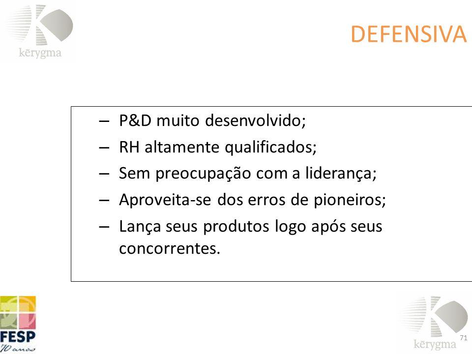 DEFENSIVA P&D muito desenvolvido; RH altamente qualificados;