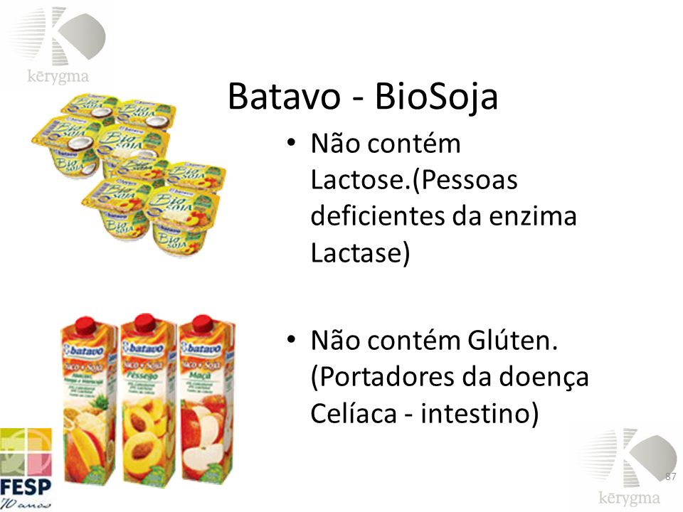 Batavo - BioSoja Não contém Lactose.(Pessoas deficientes da enzima Lactase) Não contém Glúten.