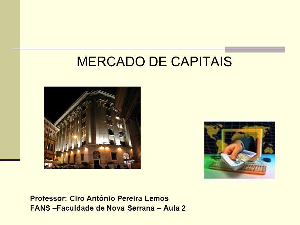 MERCADO DE CAPITAIS Professor: Ciro Antônio Pereira Lemos