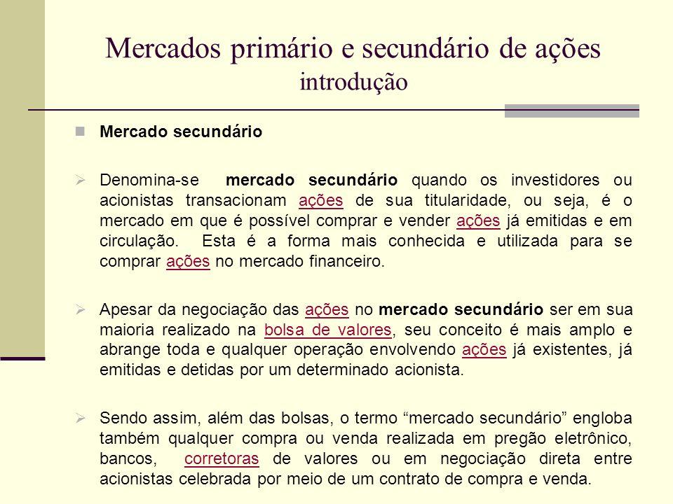 Mercados primário e secundário de ações introdução