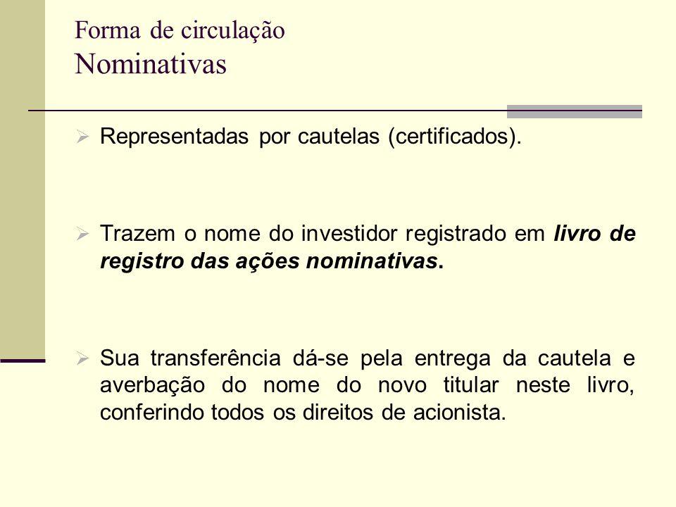 Forma de circulação Nominativas