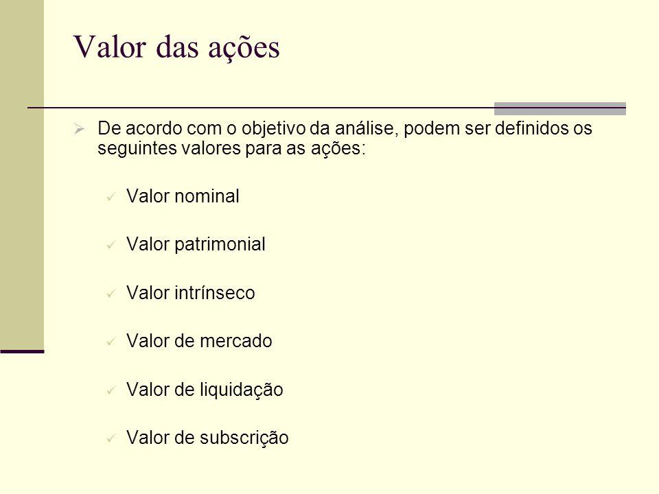 Valor das açõesDe acordo com o objetivo da análise, podem ser definidos os seguintes valores para as ações: