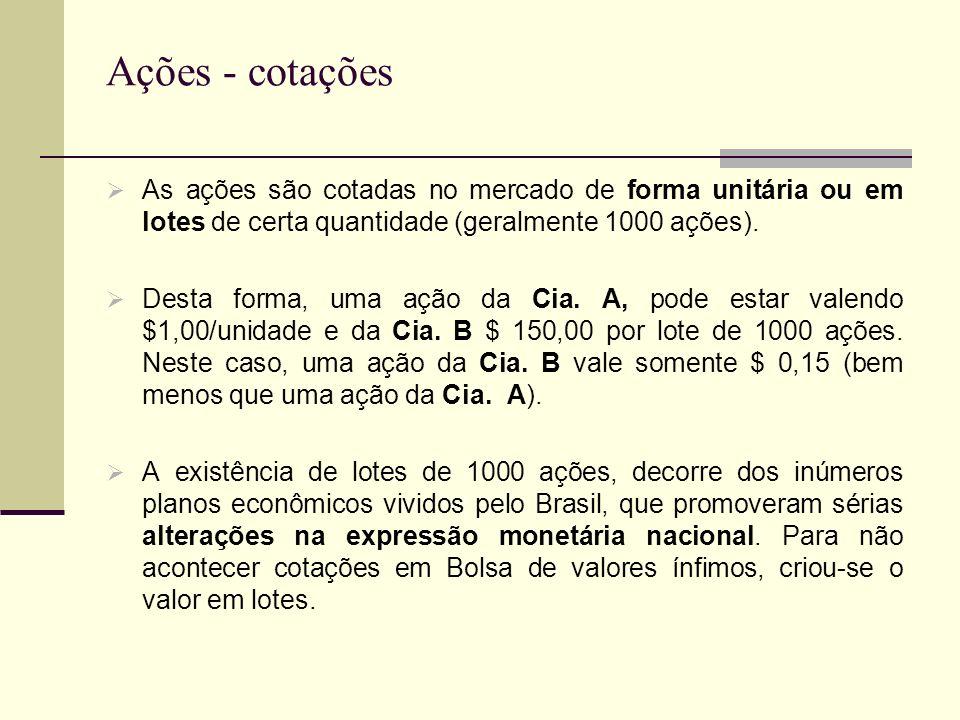 Ações - cotações As ações são cotadas no mercado de forma unitária ou em lotes de certa quantidade (geralmente 1000 ações).