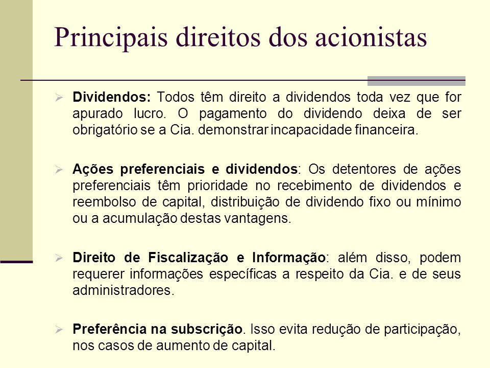 Principais direitos dos acionistas