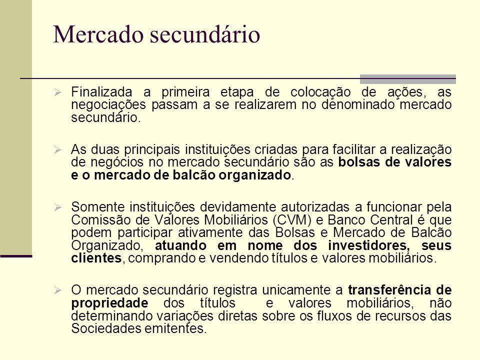 Mercado secundário Finalizada a primeira etapa de colocação de ações, as negociações passam a se realizarem no denominado mercado secundário.