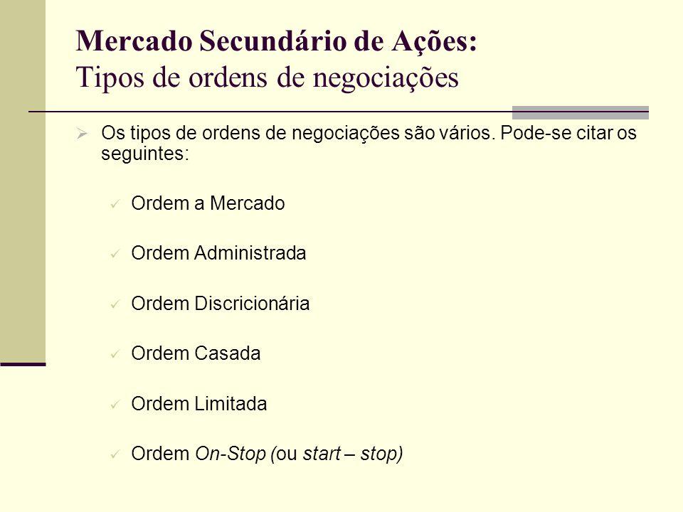 Mercado Secundário de Ações: Tipos de ordens de negociações