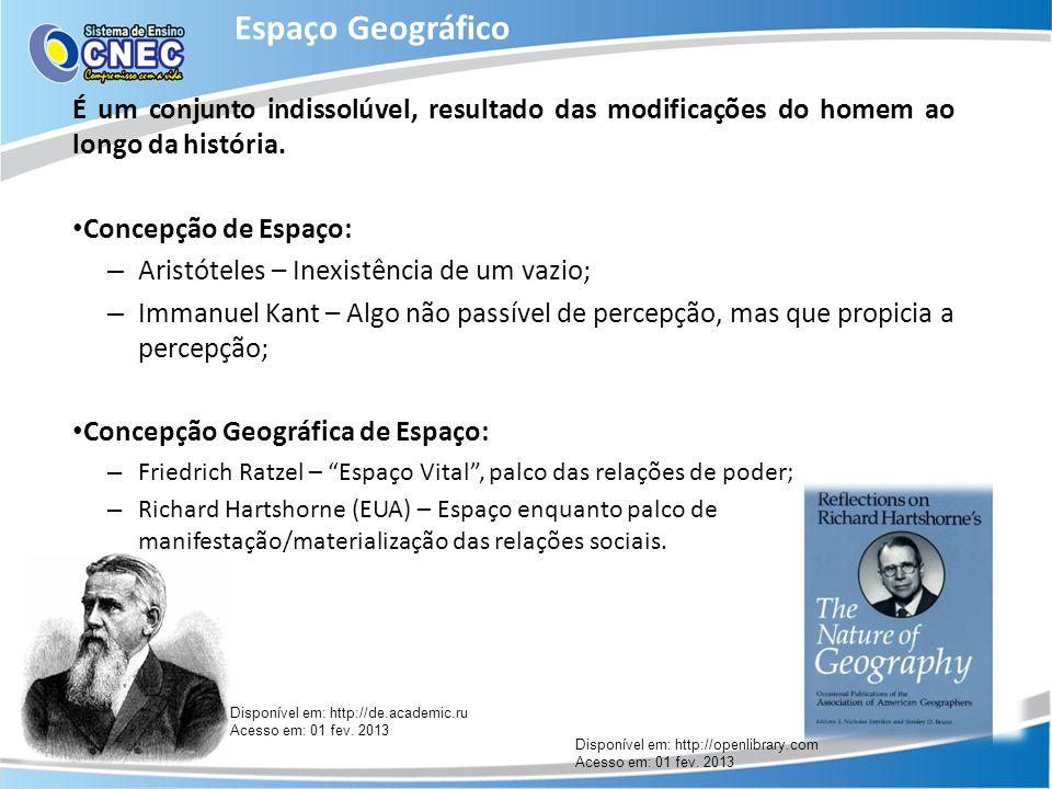 Espaço Geográfico É um conjunto indissolúvel, resultado das modificações do homem ao longo da história.