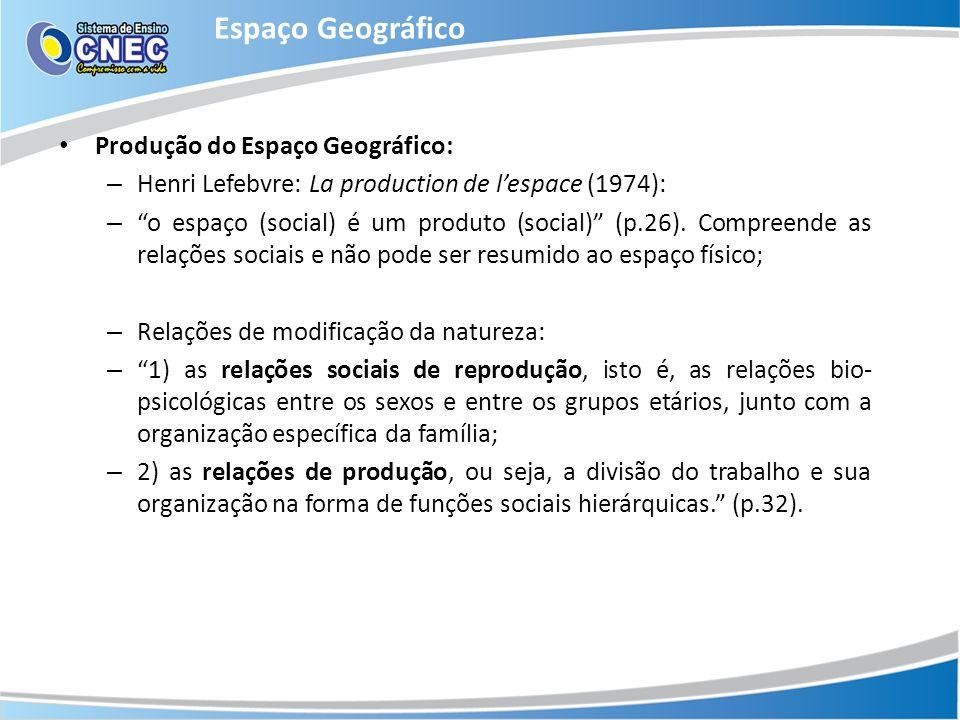 Espaço Geográfico Produção do Espaço Geográfico:
