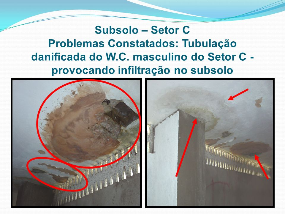 Subsolo – Setor CProblemas Constatados: Tubulação danificada do W.C.