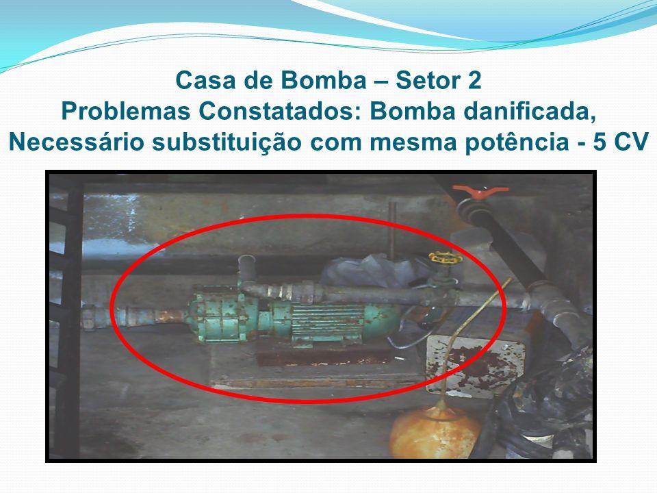 Casa de Bomba – Setor 2Problemas Constatados: Bomba danificada, Necessário substituição com mesma potência - 5 CV.