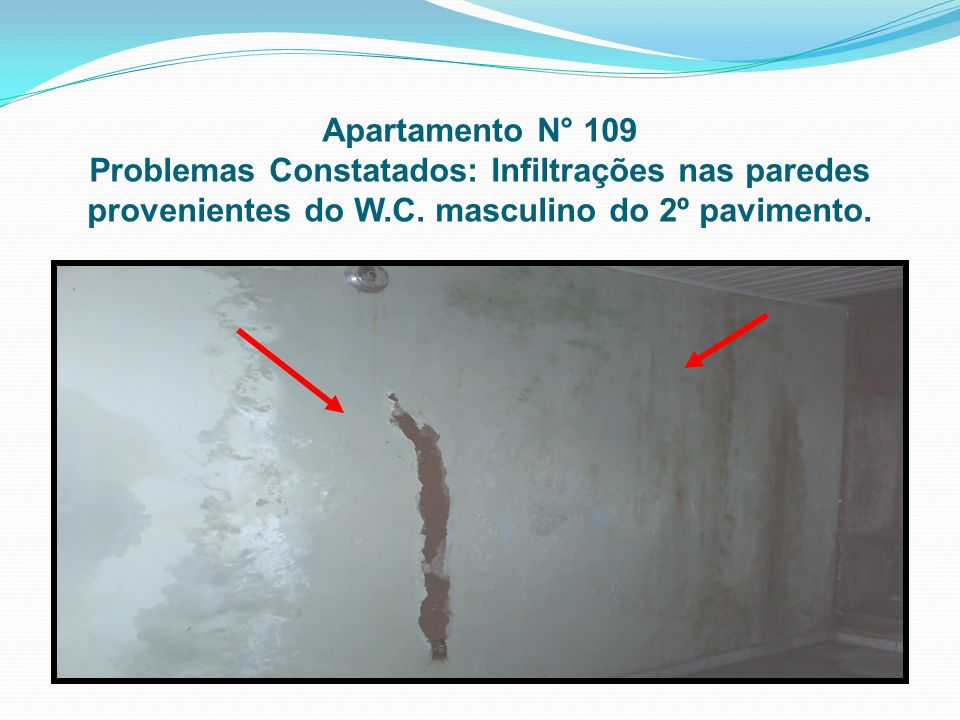 Apartamento N° 109 Problemas Constatados: Infiltrações nas paredes provenientes do W.C.