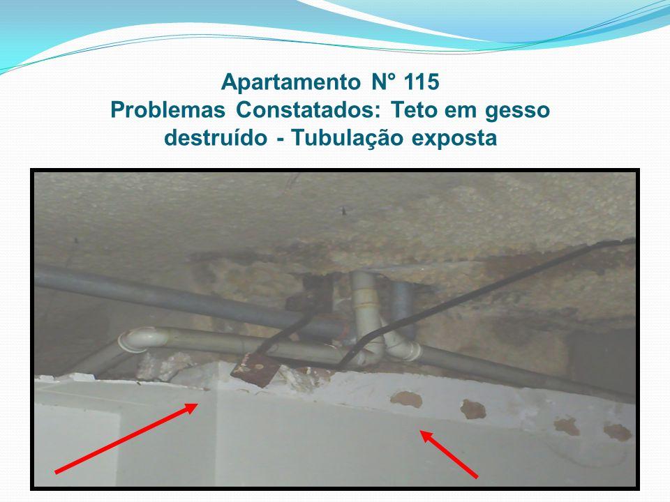 Apartamento N° 115 Problemas Constatados: Teto em gesso destruído - Tubulação exposta