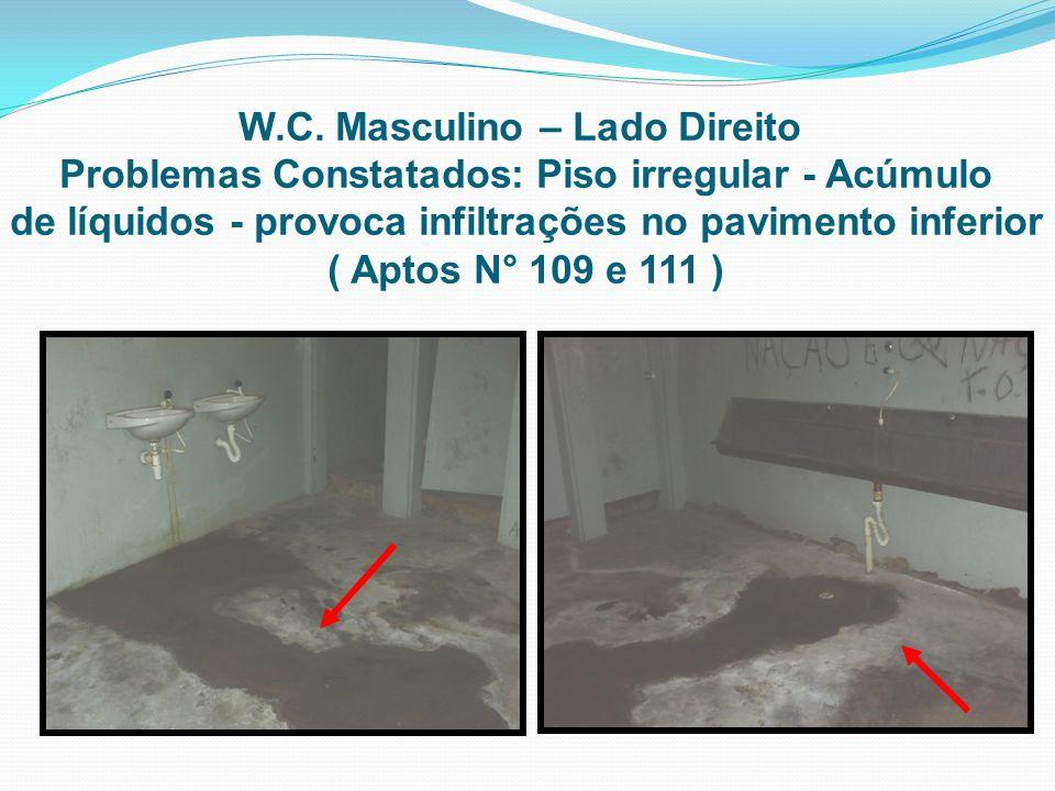 de líquidos - provoca infiltrações no pavimento inferior