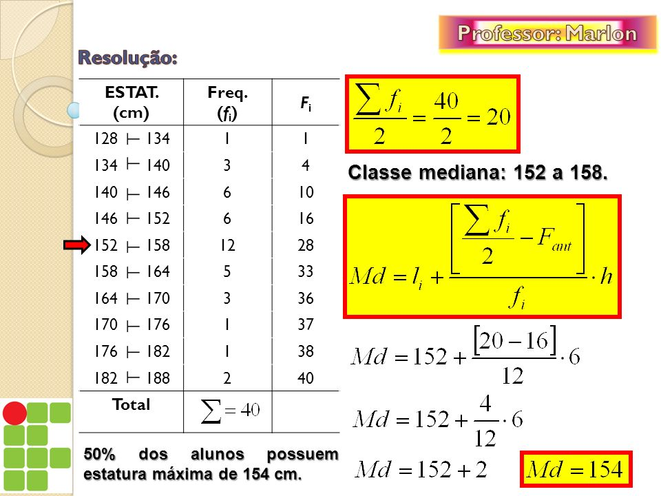 Professor: Marlon Resolução: Classe mediana: 152 a 158. ESTAT. (cm)