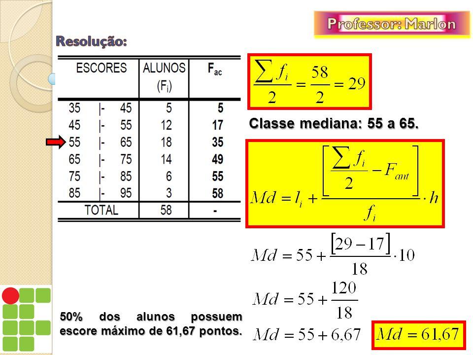 Professor: Marlon Resolução: Classe mediana: 55 a 65.