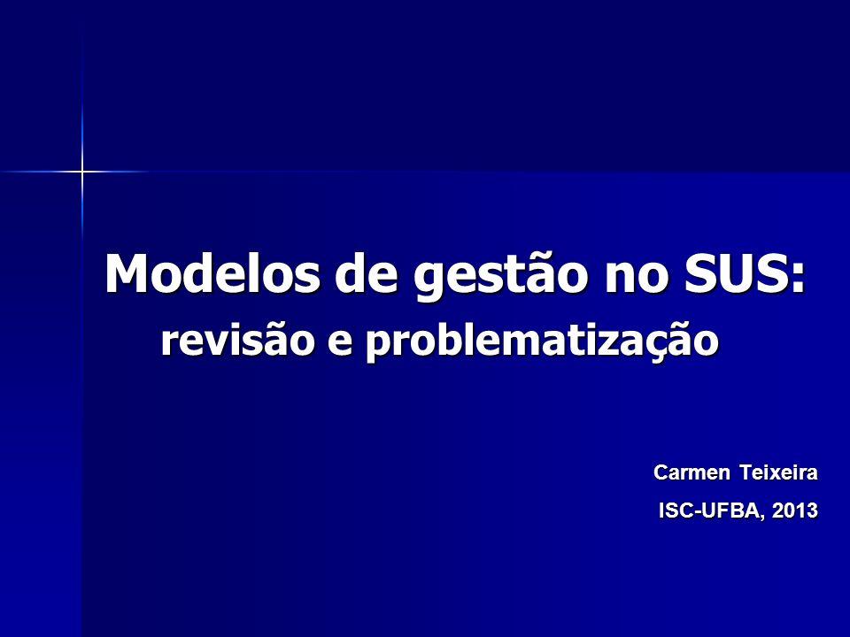 Modelos de gestão no SUS: revisão e problematização