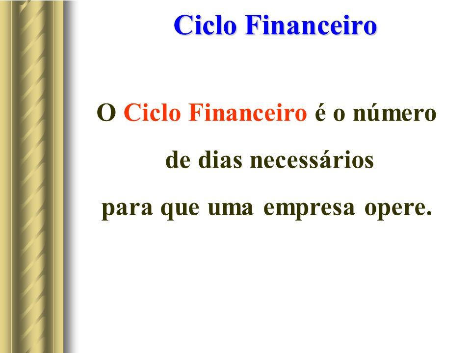 O Ciclo Financeiro é o número para que uma empresa opere.
