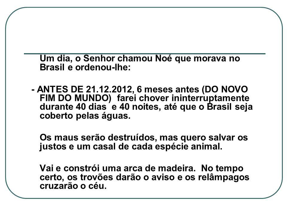 Um dia, o Senhor chamou Noé que morava no Brasil e ordenou-lhe: