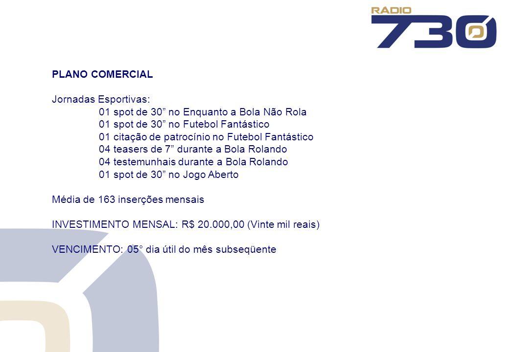 PLANO COMERCIAL Jornadas Esportivas: 01 spot de 30 no Enquanto a Bola Não Rola. 01 spot de 30 no Futebol Fantástico.