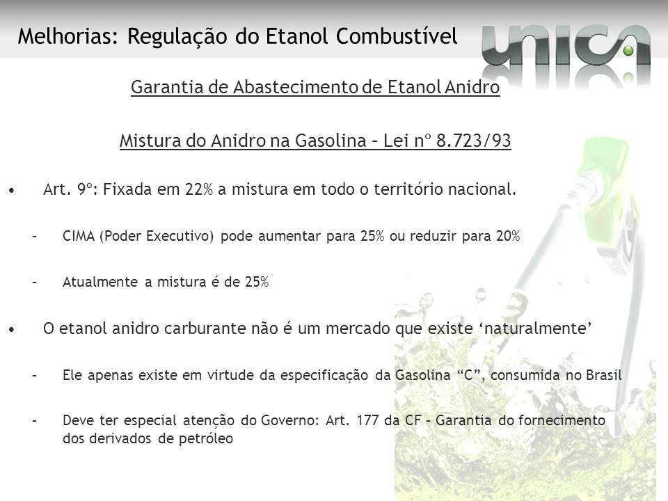 Melhorias: Regulação do Etanol Combustível