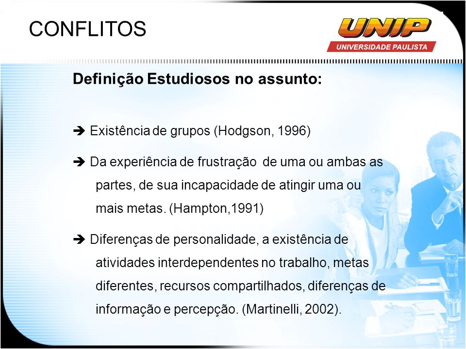 CONFLITOS Definição Estudiosos no assunto: