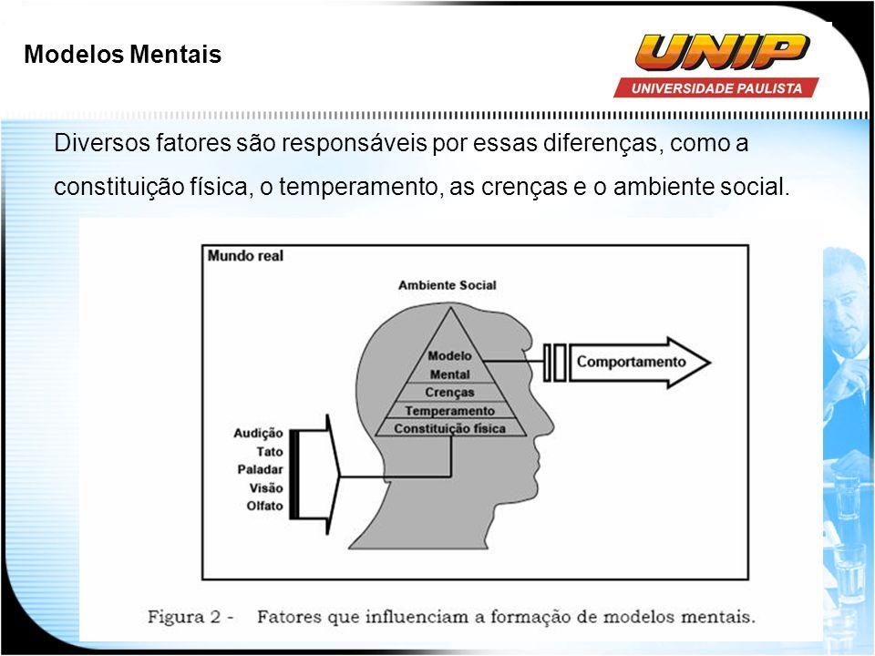 Modelos Mentais Diversos fatores são responsáveis por essas diferenças, como a constituição física, o temperamento, as crenças e o ambiente social.