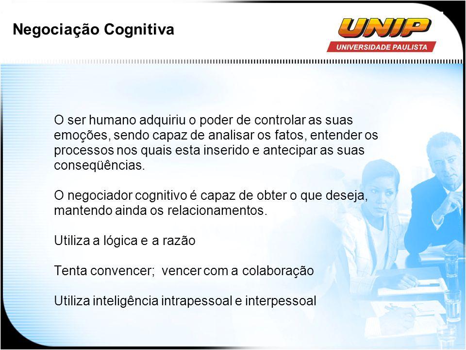 Negociação Cognitiva O ser humano adquiriu o poder de controlar as suas. emoções, sendo capaz de analisar os fatos, entender os.