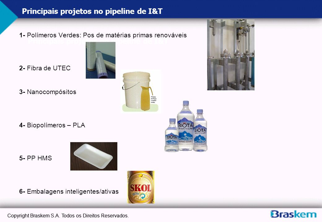 Principais projetos no pipeline de I&T